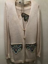Women's Skirt and Cardigan Set Fancy Knit Sequined Ivory High End Quality