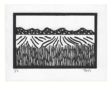 Rural countryside landscape print, hand printed linoleum block print
