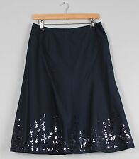 Laura Ashley Blue Sequin Flared Lined Midi Skirt Size 12