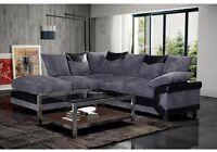 Bran New Jumbo Dino Left Hand Corner Sofas Set Fabric Scatter Back Black & Grey