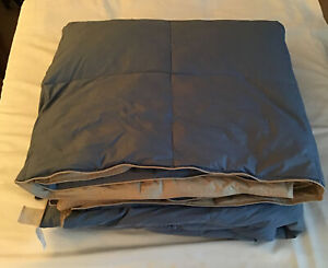 """Full/Queen 95% Feathers 5%. Down Comforter Unbranded 86"""" X86"""" Blue Tan"""