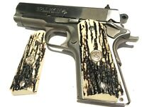 "1911 COMPACT GRIPS,SALE $43.73 COLT OFFICERS & DEFENDERS,SILVER ""RAMPANT HORSES"""