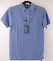 POLO RALPH LAUREN Men's Slim Fit Polo Shirt, Blue Heather, size SMALL