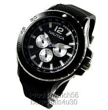 New Nautica Aluminum Case Yachting Collection Watch Black rubber strap day date