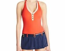 Tommy Hilfiger Swimdress Sz 12 Tomato Red Halter One Piece Swimsuit TH46205