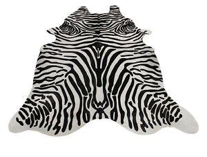 Zebra Animal Print Cowhide Rug - (XL 7.5 x 6.5 ft ) - Brazilian Cow Hide Rug