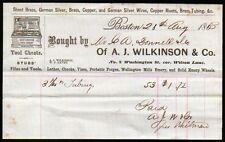 1863 A J Wilkinson & Co Gentlemans Tool Chests  Boston MA  Letter Head history