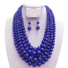 """18"""" Adjustable 5 Layered Royal Blue Pearl Necklace W Matching Dangling Earrings"""