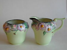 Carlton Ware  Australian Design green Poppy & Daisy milk jug & sugar bowl
