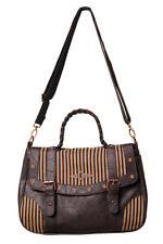 Women's Brown Stripe Vintage Retro Steampunk Shoulder Bag Handbag Banned Apparel