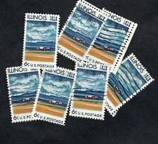 100+ #1339 Illinois Statehood Stamps, 6 cent, Used, Off Paper