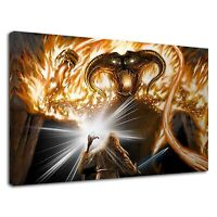 Lord Of The Rings Devil And Gandalf Fantasy Art Canvas Wall Art Picture Print