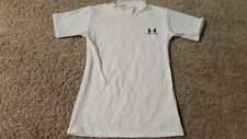 Under Armour T-Shirt Boys Size XL White High Neckline Fitted White VERY NICE!!