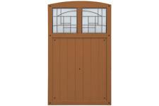 Yardistry Premium Cedar Amber Gate with Faux Glass Windows
