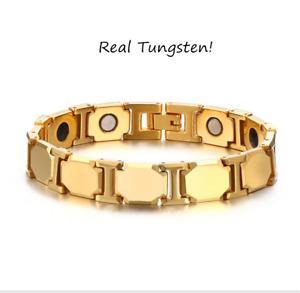 11MM Gold Mens Tungsten Carbide Bracelets Health Link Bangle Cuban Chain