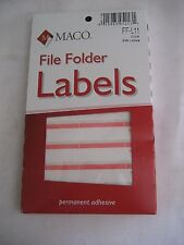 248 qty File Folder Labels Stickers Coral Maco FF-L11 1/3 Cut Typewriter Color