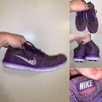 Nike Free RN Flyknit Womens Size 10 Running Shoes Purple Lace Up Lightweight