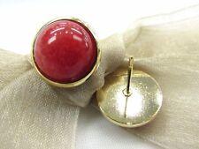 18K Gold Plate Round Shape Red Jade Cabochon Gemstone Stud Earrings