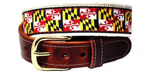 University of Maryland State Flag Leather Tab Belt