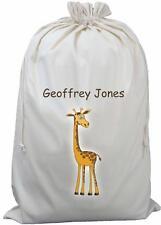 Personalised Tall Giraffe - Natural (Cream) Cotton Laundry Bag / Storage Sack