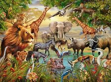 NEW! Ravensburger Majestic Watering Hole 500 piece wildlife animal jigsaw puzzle