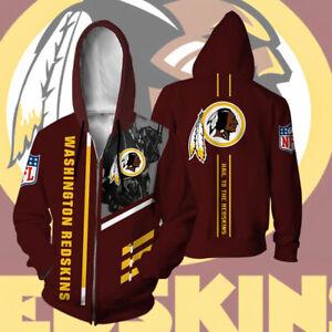Washington Redskins Men's Hoodie Full Zip Hooded Sweatshirt Casual Jacket Coat