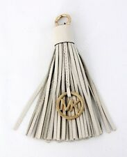 MICHAEL KORS LEATHER/METAL TASSEL HANDBAG CHARM NAME TAG  CHELSEA/GOLD