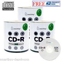 300 Pcs Smartbuy 52X CD-R 700MB/80Min Logo Top Surface Blank Media Record Disc
