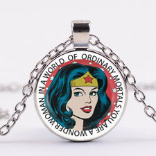 Wonder- Woman Cabochon Glass Dome Silver Chain Pendant Necklace  DD+ 697