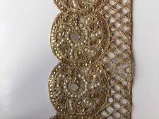 ONE METER ETHNIC INDIAN GOLD MIRRORS PEARLS CRYSTAL WITH JALI BORDER TRIM/LACE