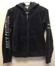JUICY COUTURE Women's Navy Sequin Sleeve Velour Zip Up Hoodie Jacket Size S, NWT