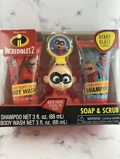 Incredibles 2 Soap & Scrub 4 Piece Kids Bath Set Shampoo, Body Wash & Scrubby