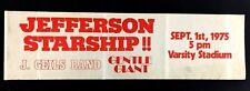 1975 J Geils Band Jefferson Starship BUMPER STICKER Varsity Stadium Toronto VTG