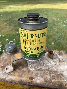 Vintage Eversure Hydraulic Jack Oil Can Tin Half Pint Tin Garage Sign Enamel