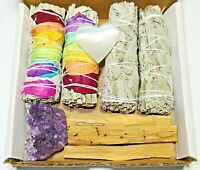 Healing Crystals and smudge kit Amethyst/Selenite/Palo Sant/7Chakra/White Sage