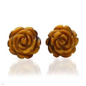 Vintage Solid 14K Yellow Gold Round Tiger/'s Eye Stud Earrings 2.9 Grams Wedding