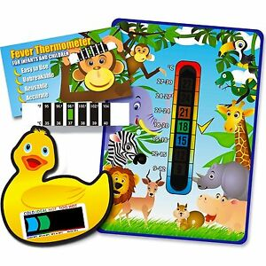 Pack of 'Happy Family' Jungle Animals Nursery & Room Thermometer, Duck Bath Th