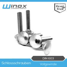 10 St/ück SC-Normteile M10x150 - Edelstahl A2 V2A Vollgewinde SC603 - DIN 603 Flachrundschrauben//Schlossschrauben mit Vierkantansatz