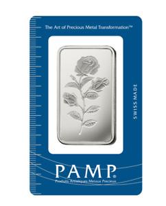 1 oz Pamp Suisse ROSE  .999 Fine Silver Bar Classic Design In Assay