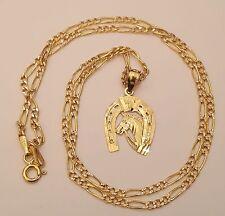 14K Yellow Gold Horse Head Horseshoe Pendant Charm 18 Inch Figaro Chain