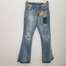 American Eagle Festival Vtg High Rise Flare Jeans Sz 4 Released Hem Destroyed