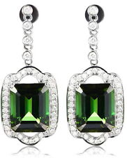 SOLID 14Kt WHITE GOLD NATURAL GREEN TOURMALINE VS DIAMOND ENGAGEMENT EARRINGS