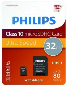 Carte memoire micro SD SDHC SDXC capacité 32 go classe 10 Philips + adaptateur