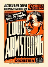 Big Band Jazz:Star Louis Armstrong Poster Connie's Inn New York 1930's-40s