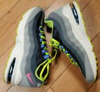 NIKE Air Max 95 (GS) Shoes Black/Photo Blue-Volt-Light Magnet Grey Size 4 Y