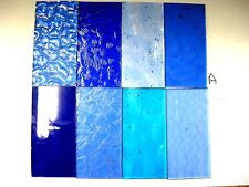 8 BLUE Stained Glass Hobby Sheets 100mm x 50mm x 3m  Quality Craft Items LOT A