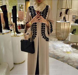 Robe Muslima Kaftan Abaya Dress Cardigan Robe Arab Islamic Black Beige 6 8 10 12