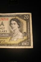 1954 Devil's Face $20 Dollar Bank of Canada Banknote CE8476713