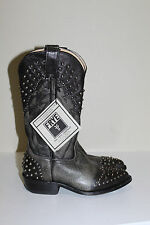 New sz 5.5 Frye Gray Leather Billy Stud Studded  Mid Calf Low Heel Boot Shoes