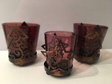 Teelichhalter aus Glas-Metall in braun-gold im Shabby Look